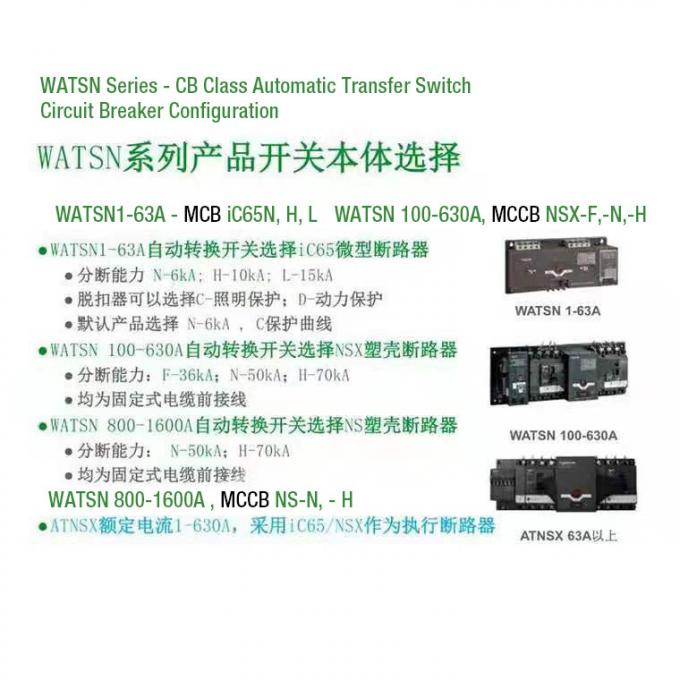 ATS Power Automatic Transfer Switch , 4P 3 Phase Automatic Transfer Switch CB Class 63A 630A 1600A