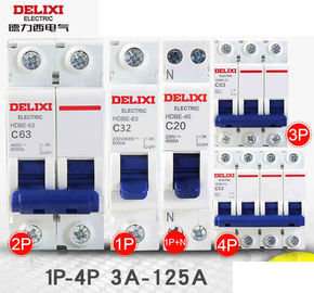 China Delixi HDBE Miniature Industrial Circuit Breaker 1~63A 80~125A 1P 2P 3P 4P AC230/400V factory